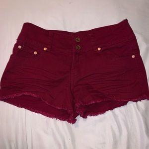 Burgundy Jean Shorts